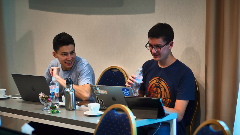 Tanner Emek and Jack Cable hacking in Kharkiv